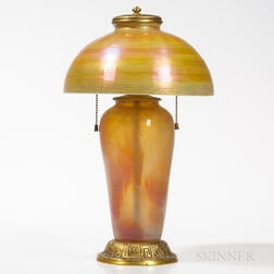 Tiffany Studios Bronze Zodiac Lamp with Gold Favrile Shade
