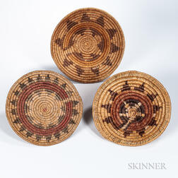Three Coiled Navajo Wedding Baskets