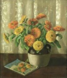 Lot of Four Floral Pastels Including:  Emma Bailey Fraser (American, b. 1881), Zinnias, Daisies