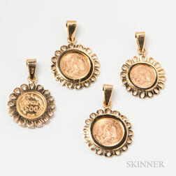 Four 14kt Gold-mounted Peso Pendants