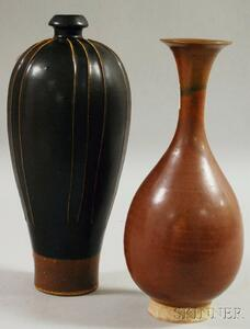 Two Northern Asian Brownware Vases