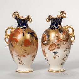 Pair of Royal Crown Derby Imari-style Art Nouveau Ewers