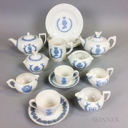 Fifteen Wedgwood Embossed Queensware Commemorative Tableware Items.     Estimate $200-400
