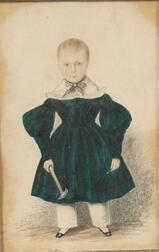 American School, 19th Century      Miniature Portrait of a Boy in Green Dress with a Hammer and a Nail.