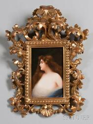 Hutschenreuther Hand-painted Porcelain Plaque of a Nymph