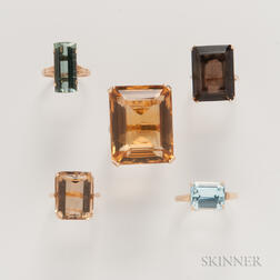 Five Emerald-cut Gemstone Cocktail Rings