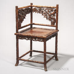 Carved Wood Corner Chair