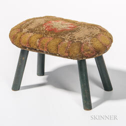 Oblong Stool with Yarn Sewn Upholstered Top