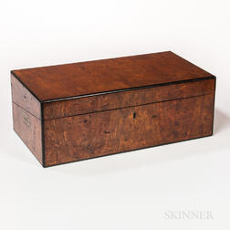 Brass-mounted Burl Veneer Desk Box
