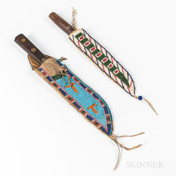 Two Plains Beaded Hide Knife Sheaths