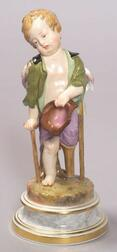 Meissen Porcelain Figure of a Boy on Crutches
