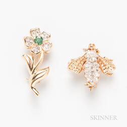 Two 14kt Gold and Diamond Brooches