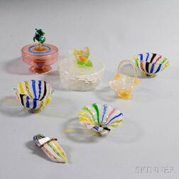 Seven Pieces of Mostly Venetian Glass