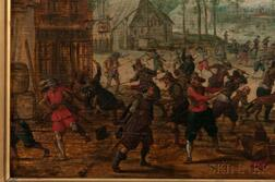Attributed to Hendrick (Henri) Ambrosius Pacx (Packx) (Dutch, 1602-after 1658)      Two Village Battle Scenes: The Melee