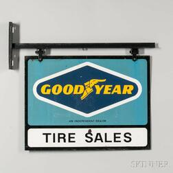 """Goodyear Tire Sales"" Double-sided Sign on Bracket"