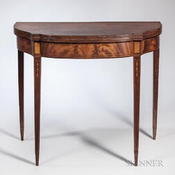 Mahogany and Mahogany Veneer Inlaid Card Table