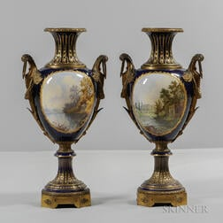 Pair of Sevres-style Porcelain Vases