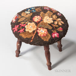 Floral Upholstered Round Stool