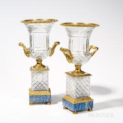 Pair of Neoclassical Bronze and Cut Glass Urns