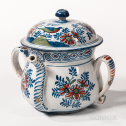 Tin-glazed Earthenware Posset Pot and Cover