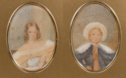 Lot of Two Victorian Portrait Miniatures of Sisters