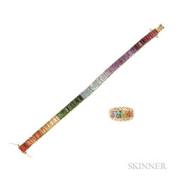 18kt Gold Gem-set Rainbow Bracelet and Ring