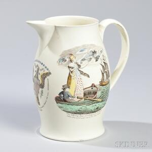 Liverpool Transfer Polychrome-decorated Creamware Jug