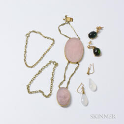 Two 14kt Gold Chains, a Carved Rose Quartz Bracelet, and Two Pairs of Hardstone Earrings
