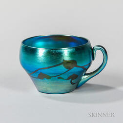 Tiffany Blue Favrile Decorated Cup