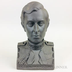 Boxed Wedgwood Black Basalt Bust of Prince Charles