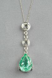18kt White Gold, Paraiba Tourmaline, and Diamond Pendant