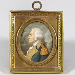 Charles Balthazar Julien Fevret de Saint-Memin (New York, Philadelphia, France, 1770-1852), Miniature Portrait of General George Washin