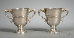 Pair of Irish George II Silver Two-Handled Cups