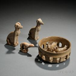 Four Tomb Pottery Items