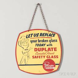 """Pilkington Glass"" Double-sided Metal Sign"