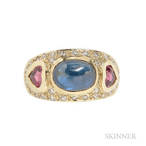 14kt Gold, Sapphire, and Pink Sapphire Ring