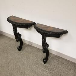 Pair of Anglo-Indian Inlaid Ebony Specimen Console Tables