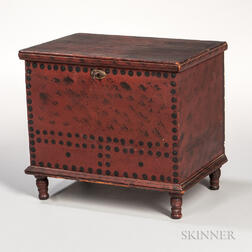 Red-painted and Black-dotted Child's Blanket Box