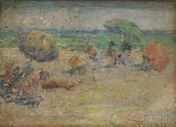 School of Edward Henry Potthast (American, 1857-1927)      Beach Scene with Umbrellas