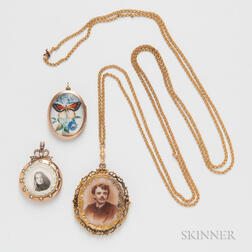 14kt Gold Watch Chain and Three Lockets