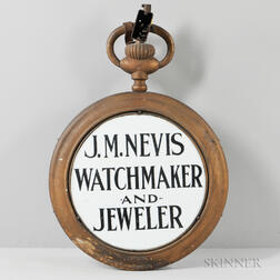 "J.M. Nevis ""Watchmaker and Jeweler"" Trade Sign"