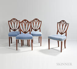 Set of Eight Federal Carved Mahogany Shield-back Dining Chairs