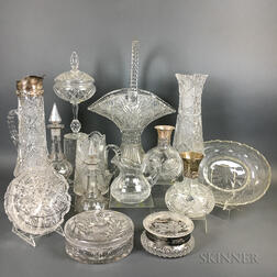 Fourteen Pieces of Cut Colorless Glass