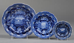 """Three Historical Blue Transfer-decorated Staffordshire Pottery """"States"""" Plates"""