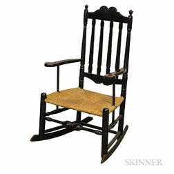 Black-painted Bannister-back Armed Rocking Chair