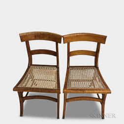 Pair of Classical Tiger Maple Cane-seat Side Chairs