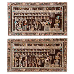 Pair of Egyptianesque Inlaid and Polychrome Painted Wall Panels