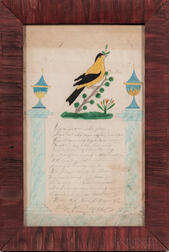 Watercolor Picture with Yellow Bird, Blue Pillars, and Verse