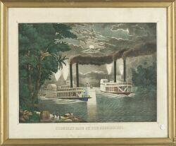 Thomas Kelly, lithographer (New York, 19th Century)  MIDNIGHT RACE ON THE MISSISSIPPI.