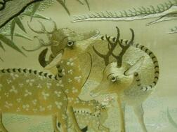 Embroidered Panel Depicting Deer